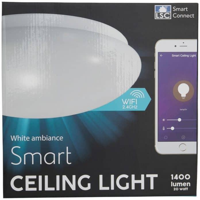 LSC Smart Connect slimme plafonnière van Action nog in de verpakking.