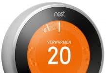 slimme thermostaat van Nest opwarmen van je huis met oranje rondje