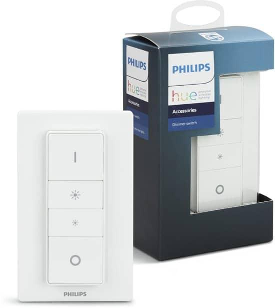 Philips Hue dimmer switch in verpakking en uit de verpakking