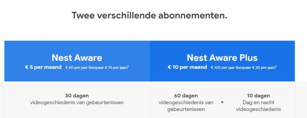 nieuwe abonnementen model Nest Aware