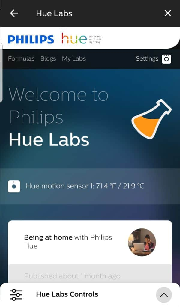 philips hue labs beginscherm