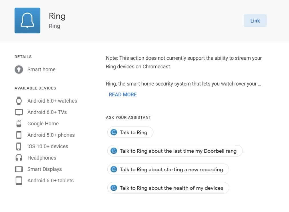 ring bedienen met Google Home